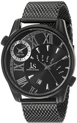 Joshua & Sons Men's JX112BK Dual Time Zone Quartz Watch with Dial and Mesh Bracelet