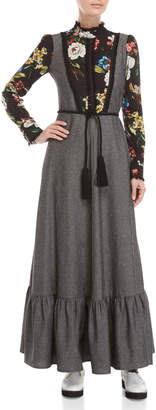 I'M Isola Marras Grey Floral High Neck Tassel Belted Maxi Dress