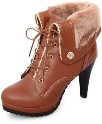 SaraIris Women's Dress Ankle Boots High Heels Platform Lace-up Plush Warm Booties for Winter