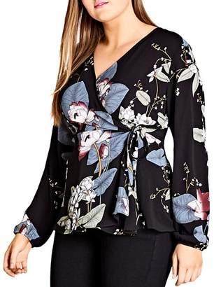 City Chic Plus Floral-Print Wrap Blouse