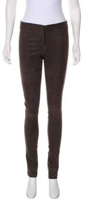 Alice + Olivia Leather Low-Rise Skinny Pants