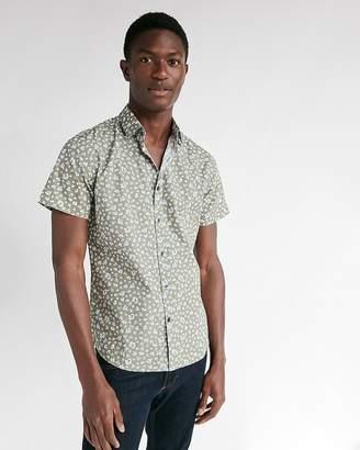Express Slim Small Floral Short Sleeve Shirt