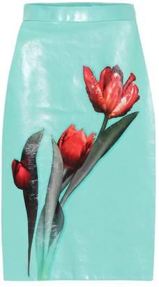 Prada Floral glossed-leather skirt