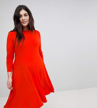Asos Midi Swing Dress With Asymmetric Hem