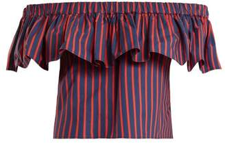 Riviera La Doublej Striped Cotton Cropped Top - Womens - Red Multi