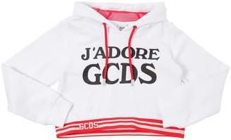 Cropped Printed Cotton Sweatshirt Hoodie