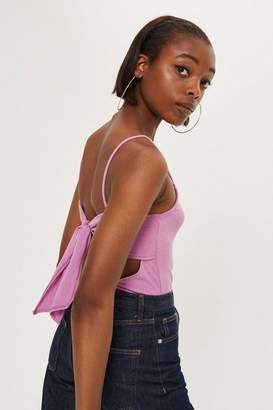 Topshop Ribbed Tie Back Body