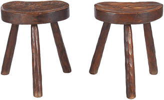 One Kings Lane Vintage Pair of French Country Ashwood Stools - Negrel Antiques