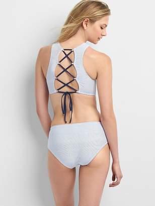 e08663374a Stripe High-Neck Criss-Cross Bikini Top