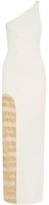 HANEY Petra One-shoulder Metallic Mesh-paneled Ponte Gown
