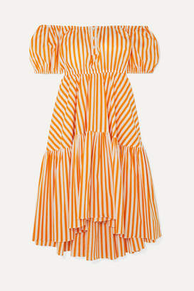 Caroline Constas Bardot Off-the-shoulder Striped Cotton-blend Midi Dress - Orange
