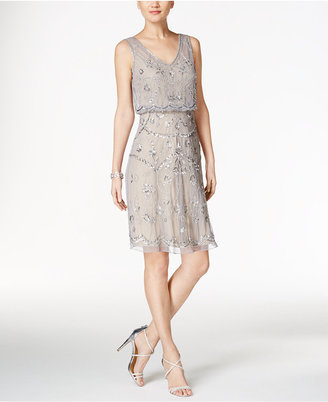 Adrianna Papell Beaded Illusion Blouson Dress $189 thestylecure.com