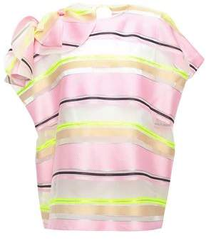 DELPOZO Bow-embellished Striped Organza Blouse