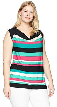 Nine West Women's Plus Draped Cowl Neck Stripe ITY TOP