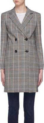Theory 'Square' check plaid double breasted coat