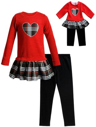 Dollie & Me Girls 4-10 Knit Plaid Dress, Leggings & Matching Doll Outfit Set