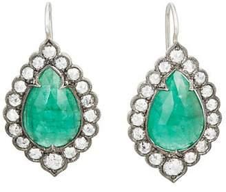 Cathy Waterman Women's Emerald Lace-Edged Earrings - Green
