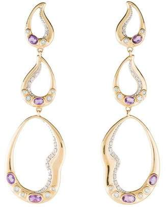 14K Diamond, Amethyst & Aquamarine Drop Earrings