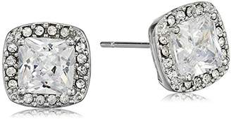 Cara Square Center with Pave Surround Stud Earrings