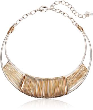 "Robert Lee Morris Wired Warrior"" Two-Tone Wire Wrapped Sculptural Collar Necklace"