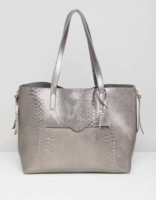 Glamorous Metallic Gray Snake Shopper with Metal Zips