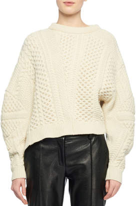 Stella McCartney Puff-Sleeve Alpaca-Blend Cable-Knit Sweater