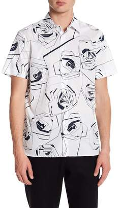 Perry Ellis Roses Short Sleeve Regular Fit Shirt