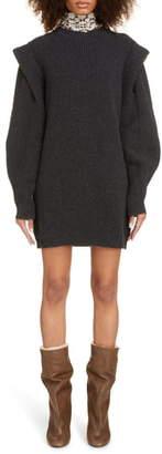 Isabel Marant Layered Long Sleeve Cashmere & Wool Sweater Dress