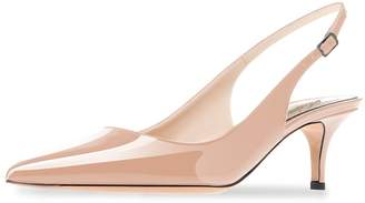 6f805e08b7a Modemoven Women s Patent Leather Pointed Toe Slingback Ankle Strap Kitten  Heels Pumps Evening Stiletto Shoes