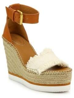 See by Chloe Glyn Leather& Frayed Canvas Espadrille Wedge Platform Sandals