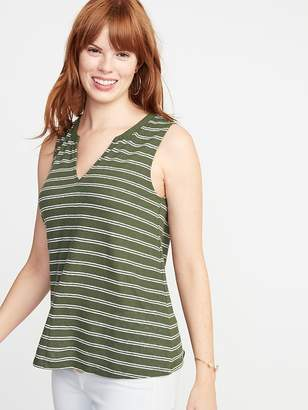 Old Navy Relaxed Striped Linen-Blend Tank for Women