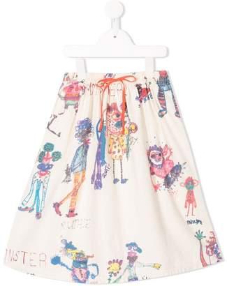 Denim Dungaree sketch print skirt