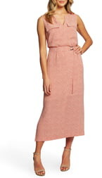 Chaus Sundried Tiles Tie Waist Mid Dress