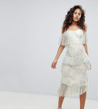 Asos Tall DESIGN Tall delicate lace cold shoulder midi dress with ruffles