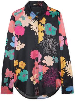 Stine Goya Maxwell Floral-print Silk-blend Charmeuse Shirt - Black