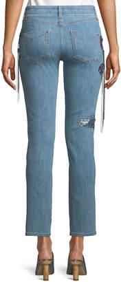 Roberto Cavalli Tassel Embellished Ankle Jeans