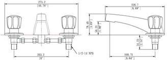 LagunaBrass Double Handle Deck Mounted Roman Tub Faucet