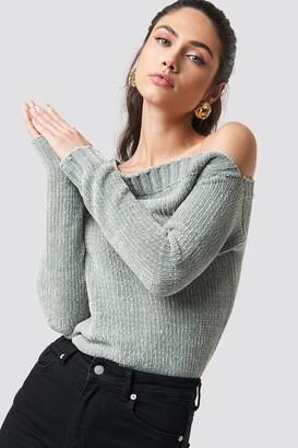 Rut & Circle Rut&Circle Chenille Off Shoulder Knit Blue