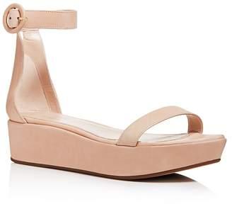 Stuart Weitzman Women's Capri Leather Platform Ankle Strap Sandals