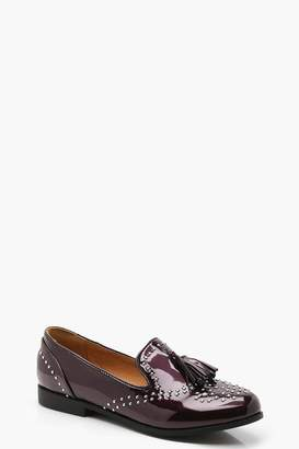 boohoo Stud and Tassel Loafers
