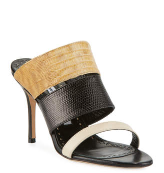 Manolo Blahnik Tretya Colorblock Leather/Lizard Slide Sandals