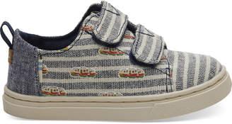 Toms Navy Cabana Stripes Cubano Print Tiny Lenny Sneakers