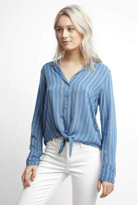 Cloth & Stone Indigo Stripe Tie Front Top