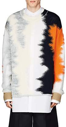 Jil Sander Men's Abstract-Pattern Mixed-Knit Sweater - Navy