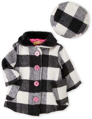 R & E Penelope Mack (Infant Girls) Two-Piece Check Coat & Hat Set