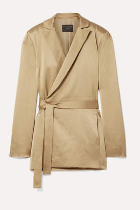 Mother of Pearl Constance Satin Wrap Blazer - Gold