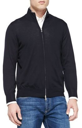 Brunello Cucinelli Fine-Gauge Full-Zip Sweater, Navy $845 thestylecure.com