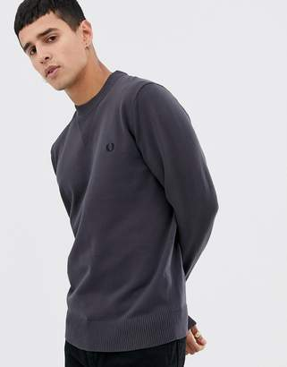 Fred Perry v neck insert crew neck knitted sweater in gray