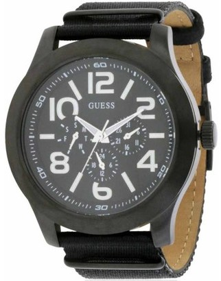 GUESS Men's Rugged Black Fabric Chronograph Watch, W11623G1