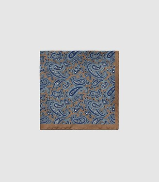 Reiss Farrell - Silk Paisley Pocket Square in Gold